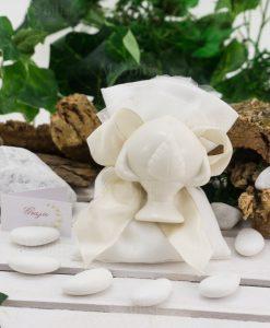 sacchetto bianco cotone con pigna calamita ad emozioni