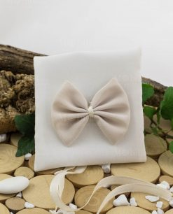 sacchetto con fiocco bicolore bianco e beige ad emozioni