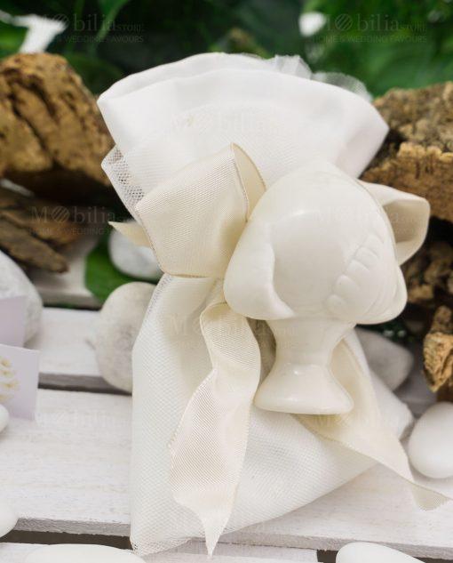 sacchetto cotone bianco con magnete pigna collezione liberty ad emozioni