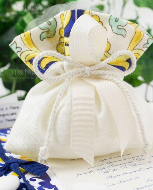 sacchetto cotone con stampa maioliche collezione i mori ad emozioni