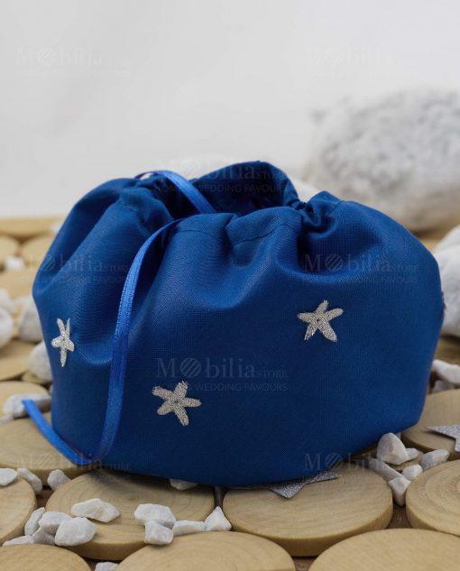 sacchetto puff blu con stelline argentate linea space ad emozioni