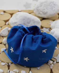 sacchetto puff blu con stelline con nastrino raso argentate linea space ad emozioni
