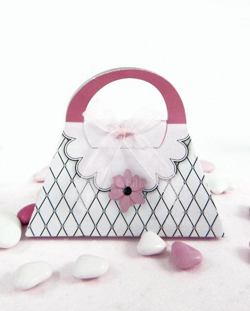 scatola a forma di borsa cartoncino bianco e righe