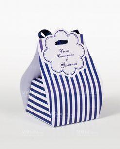 scatola a sacchetto righe bianche e blu