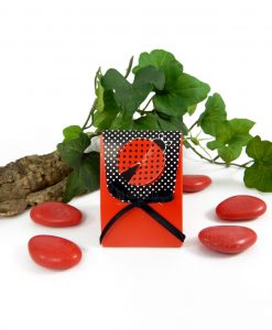 scatola cartoncino rosso con pois