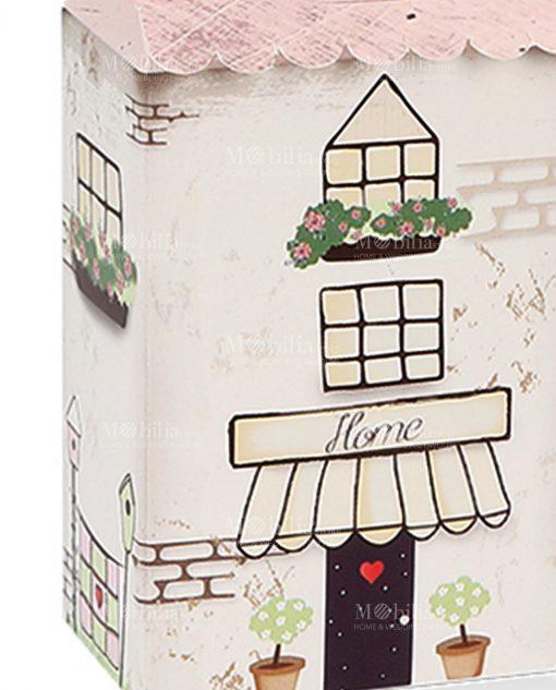 scatola casetta con disegni e tetto rosa
