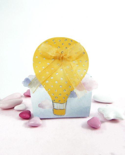 scatola con mongolfiera gialla e strass