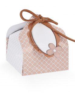 scatola portaconfetti bignè tortora e bianca
