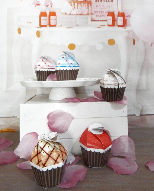 scatola portaconfetti cupcake con ciliegina 1