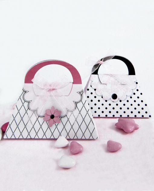 scatolina a borsa bianca rosa e nera