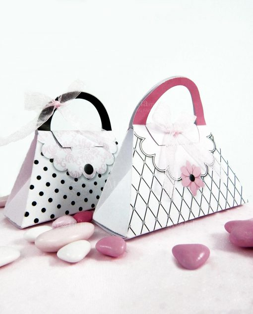 scatolina a forma di borsetta bianca rosa e nera