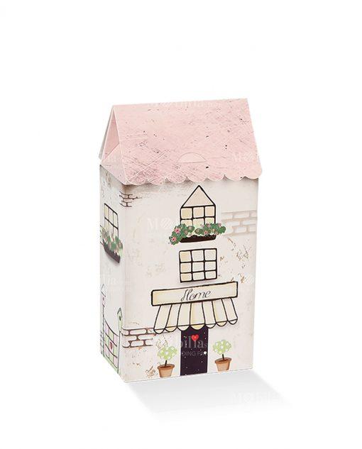scatolina a forma di casetta con tetto rosa