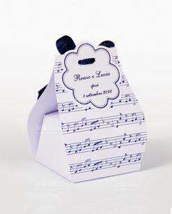 scatolina a sacchetto note musicali blu
