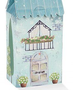 scatolina cartoncino a casetta con tetto celeste
