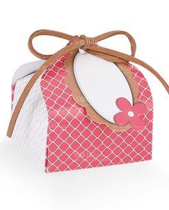 scatolina cartoncino bignè ciliegia con targhetta