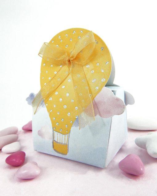 scatolina cartoncino con mongolfiera gialla