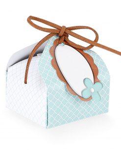 scatolina cartoncino tiffany con rombi bianchi