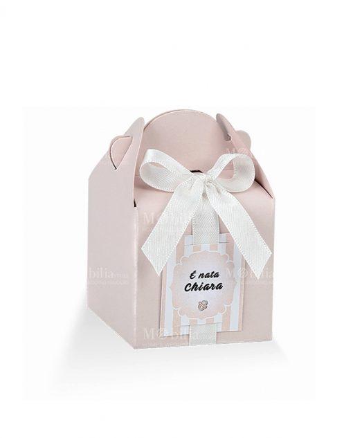 scatolina piccola rosa con targhetta prefustellata
