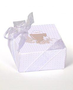 scatolina pieghevole cartoncino bianco a pois tortora e calice