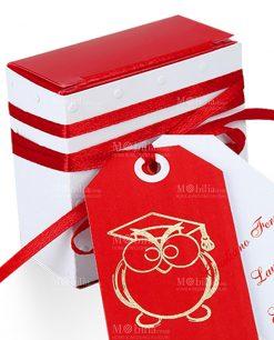 scatolina portaconfetti bianca e rossa con cartoncino gufo