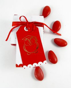 scatolina portaconfetti con targhetta gufo rosso