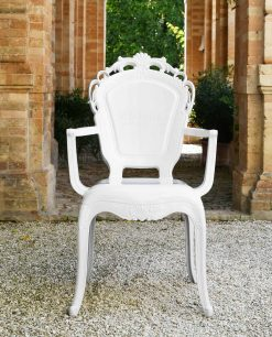sedia con braccioli policarbonato bianca baci milano