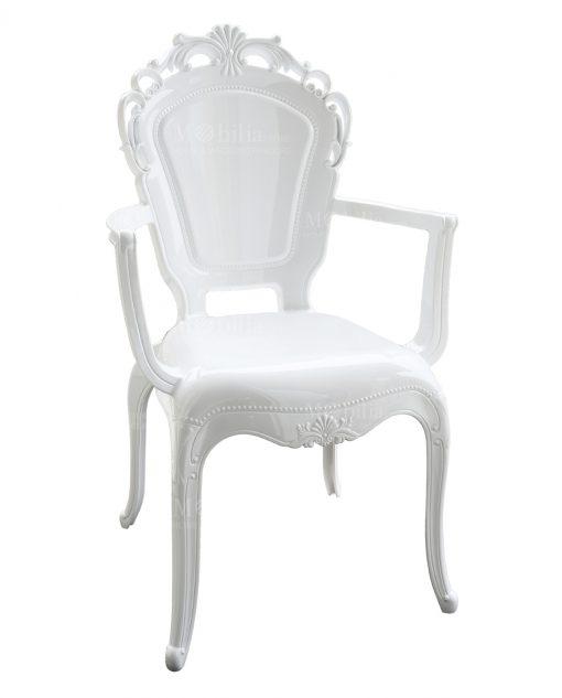 sedia con braccioli policarbonato bianco decoro barocco baci milano