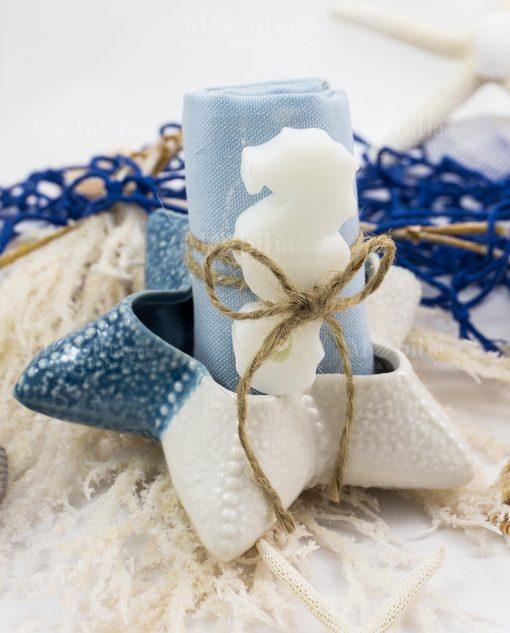 stella marina piccola con salvietta azzurra e cavalluccio marino saponetta linea oceano ad emozioni