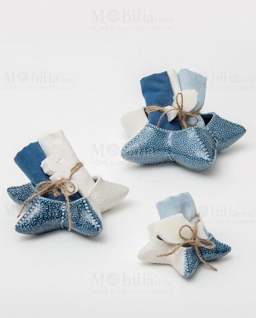 stella parina porcellana azzurra e bianca con salviette e saponetta linea oceano ad emozioni