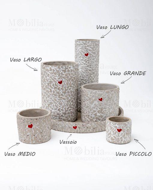 vaso cemento con cuore rosso varie misure con vassoio linea cuoricini ad emozioni