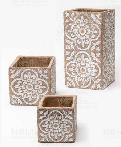 vaso cemento intarsiato tre misure grande medio e piccolo linea casablanca ad emozioni