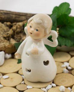 angioletto con cuoricino porcellana led linea happiness ad emozioni