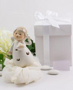 angioletto porcellana con cuoricini con led con sacchetto organza con scatola bianca cartoncino ad linea happiness ad emozioni