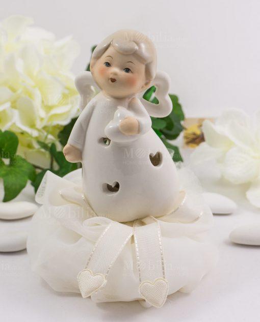 angioletto porcellana con sacchetto con cuoricini linea happiness ad emozioni