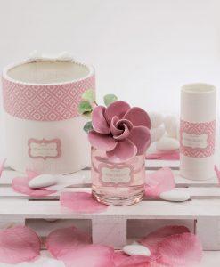 bagnoschiuma con fiore ceramica rosa rdm linea blush con confetti