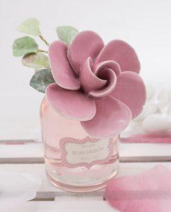 bagnoschiuma con fiore rosa porcellana capodimonte linea blush rdm design