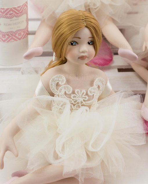 ballerina con tutu avorio pizzo rebrodè con perline rdm design linea prima ballerina