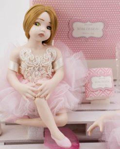 ballerina con tutu rosa pizzo rebrodè con perline rdm design linea prima ballerina
