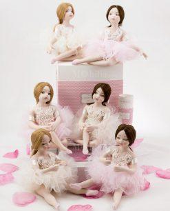 bomboniera ballerine sedute con tutù rosa e avorio posizioni assortite linea prima ballerina rdm