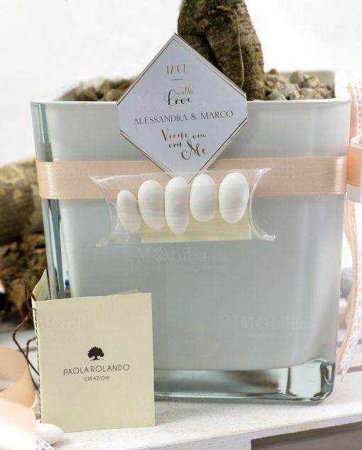 bomboniera bonsai con vaso vetro cubo bianco paola rolando con tag e confetti