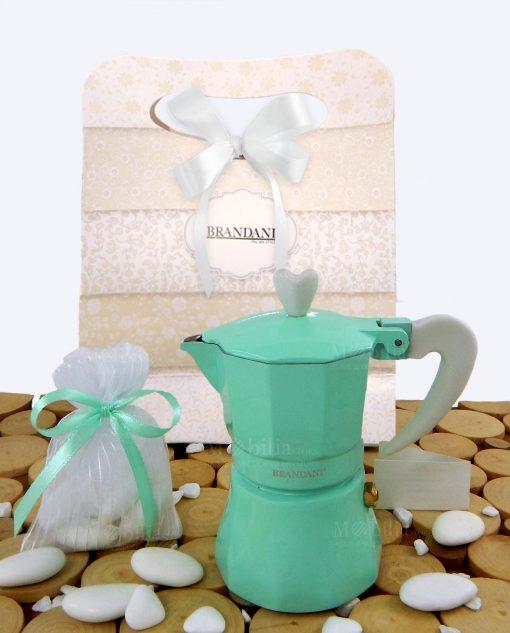 bomboniera caffettiera love me express colore tiffany con bag con sacchetto e confetti brandani