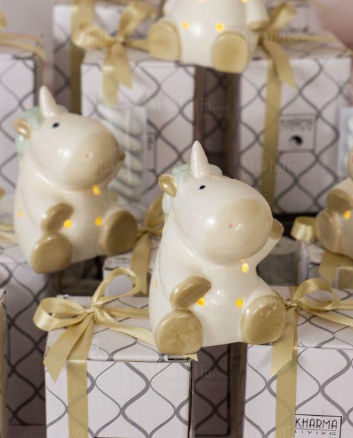 bomboniera lampada led unicorno varie forme con nastro oro