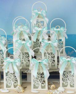 bomboniera lanterna albero della vita con doppio fiocco bianco e tiffany cordoncino e conchiglia