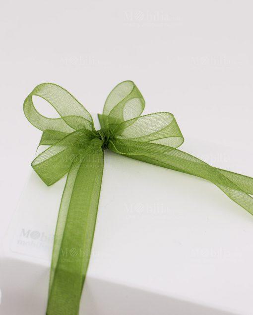 bomboniera lanterna albero della vita dettaglio fiocco verde su scatola