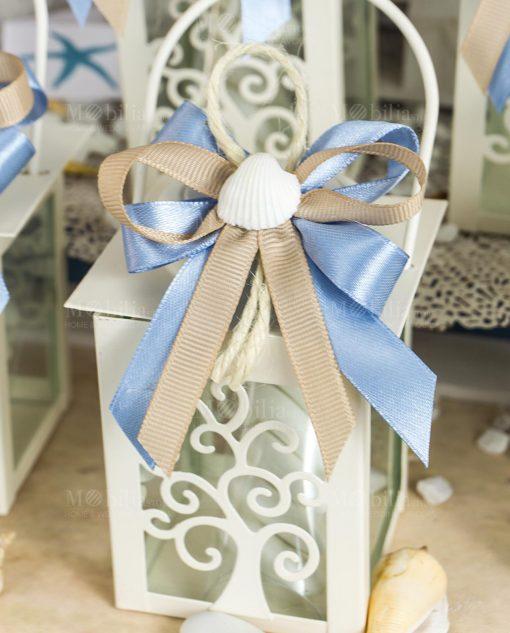 bomboniera lanterna bianca con albero della vita fiocco tortora e blu con conchiglia