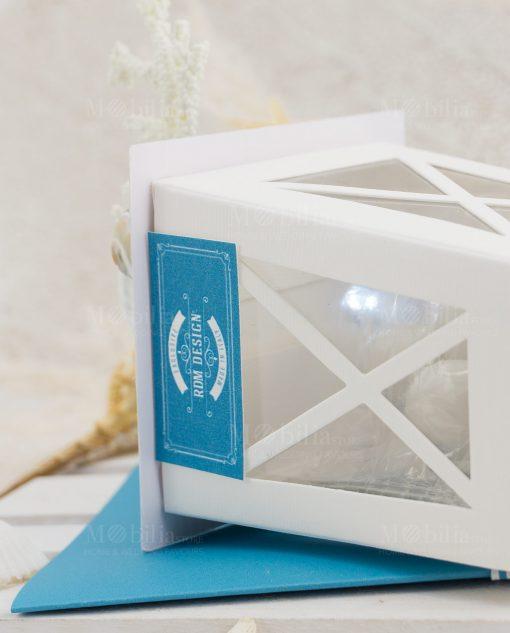 bomboniera lanterna bianca di carta con luce led linea oceania rdm design