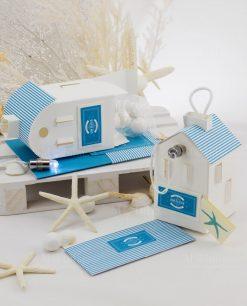 bomboniera lanterna casetta cartoncino bianco con tetto a righe blu linea oceania rdm design