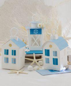 bomboniera lanterne luce led cartoncino bianco dettagli a strisce blu rdm design linea oceania