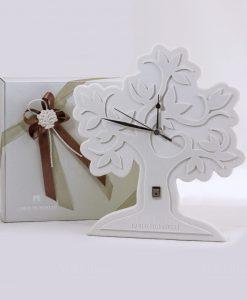 bomboniera orologio albero della vita gres bianco grande pignatelli linea eden con nastro tortora e gesso albero