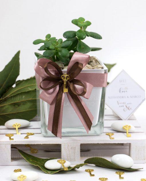 bomboniera pianta grassa succulenta con vaso cubo vetro bianco paola rolando con doppi fiocchi e ciondolo chiave